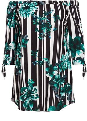 Quiz Curve Black And Green Stripe Floral Tunic Dress