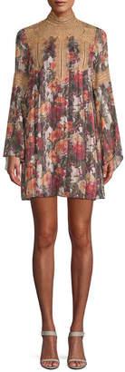 Anna Sui Cabbage Rose Stripe Mini Dress