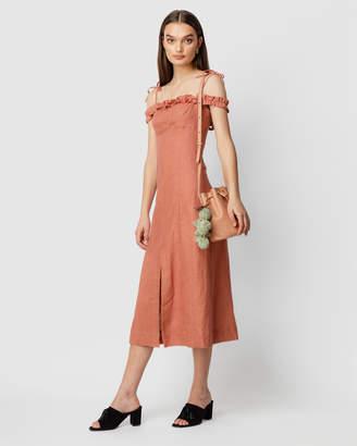 Flor La Linen Ruffle Midi Dress