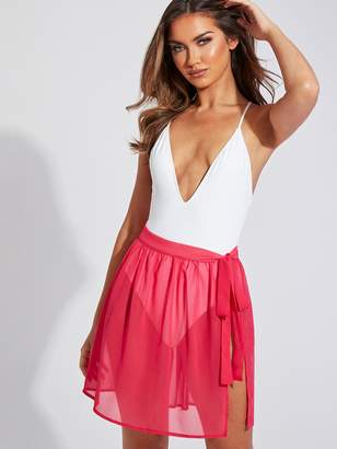 Shein Neon Pink Tie Side Sheer Cover Up Skirt