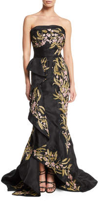 Marchesa Strapless Floral-Embroidered Cocktail Dress with Sculptural Ruffle