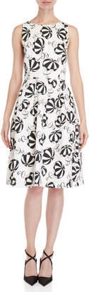 Carolina Herrera Printed Bow Fit & Flare Dress