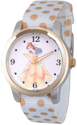 DISNEY PRINCESS Disney Princess Belle Beauty and the Beast Womens White Strap Watch-Wds000241