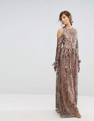 True Decadence Cold Shoulder Premium Embroidered Maxi Dress