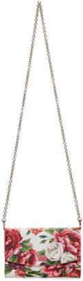 Dolce & Gabbana Pink Peonies Logo Wallet Chain Bag