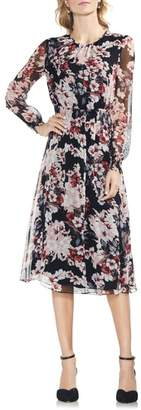 Vince Camuto Timeless Blooms Cinch Waist Midi Dress