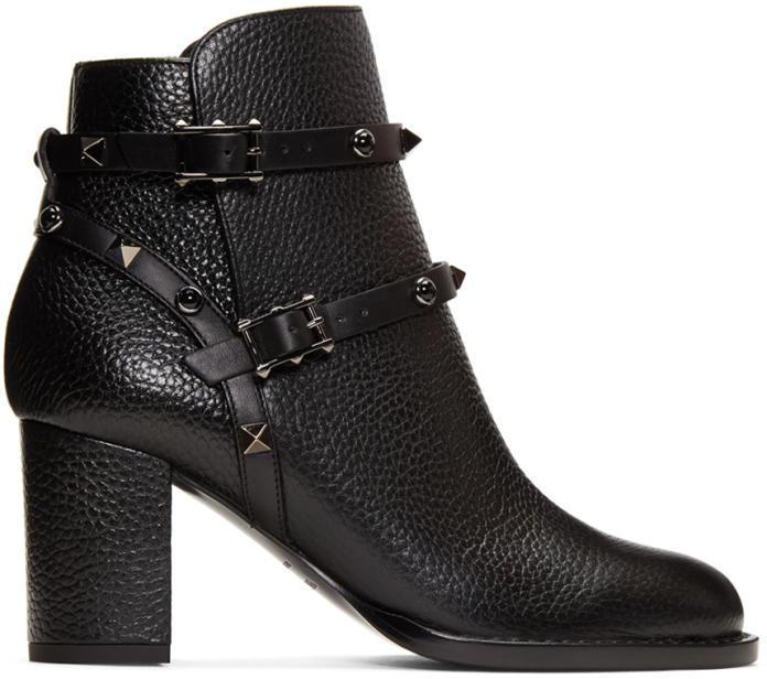 Valentino Black Valentino Garavani Rockstud Noir Boots
