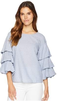 Kensie Swiss Dot Mix Tiered Sleeve Top KS7K4694 Women's Clothing