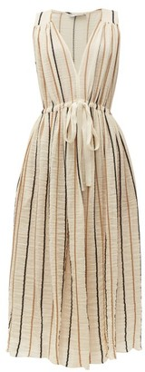 Three Graces London Solaine Striped Cotton Blend Midi Dress - Womens - Cream Stripe