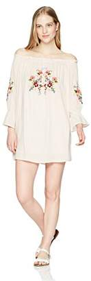 En Creme Women's Long Sleeve Off The Shoulder Embroidery Dress