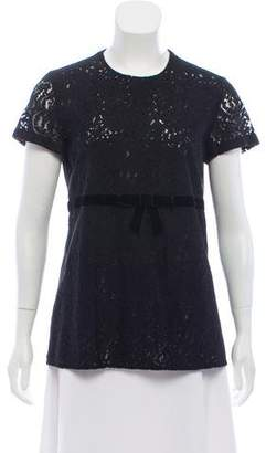 No.21 No. 21 Lace-Trimmed Short Sleeve Top