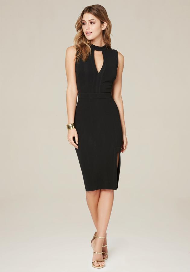 BebeHanna Front Slit Midi Dress
