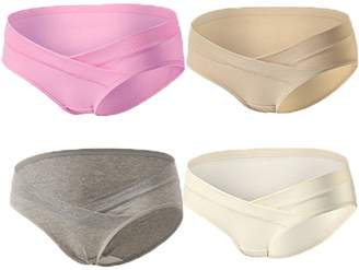 Jeonny Fashion Women's Under Bump Cotton Maternity Hipsters Pregnance Panties with Baby Multi Pack