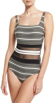 Gottex Regatta Metallic-Stripe One-Piece Swimsuit $168 thestylecure.com
