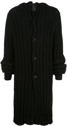 Yohji Yamamoto oversized ribbed cardigan coat