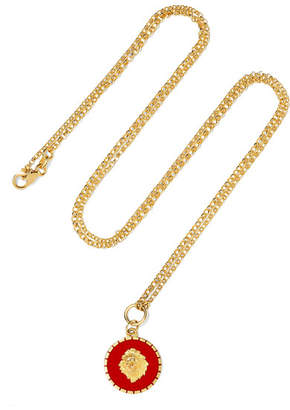 Foundrae - Strength 18-karat Gold Enamel Necklace