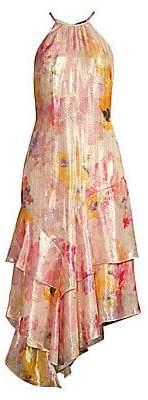 Parker Black Women's Ida Floral Lamé Halter Tiered Hem Midi Dress
