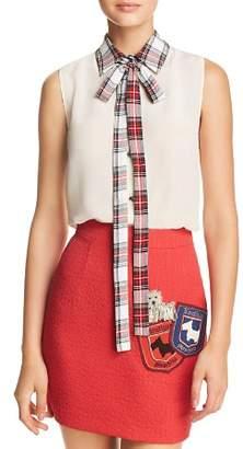 Moschino Plaid Collar & Tie-Neck Top
