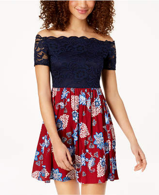 City Studios Juniors' Lace-Contrast Fit & Flare Dress