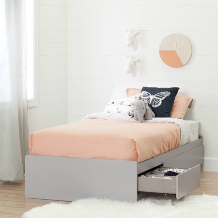 South Shore Furniture South Shore Cookie Twin Mates Bed with 3 Drawers, Soft Gray
