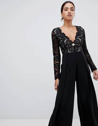 Love Triangle all over cut work lace top wide leg split jumpsuit in black