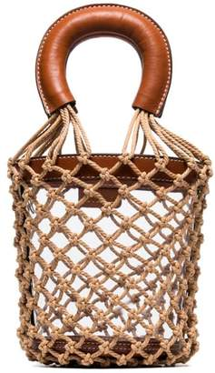 STAUD brown Moreau leather trim netted PVC bucket bag