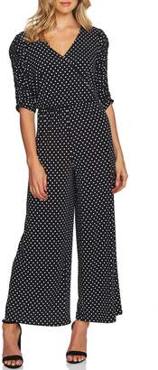 CeCe Ruched Sleeve Polka Dot Jumpsuit