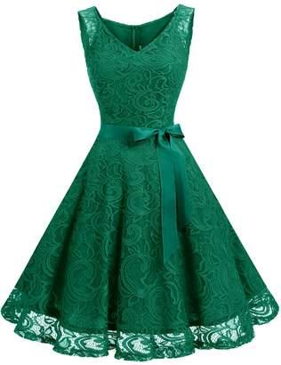 Dressystar 0010 Floral Lace Bridesmaid Party Dress Short Prom Dress V Neck M