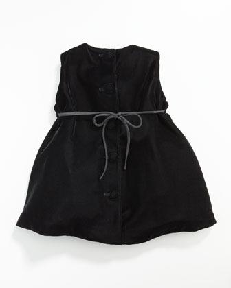Helena Velvet Pleat-Front Dress, 12-24 Months