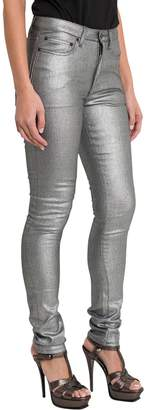 Saint Laurent Laminated Silver Skinny Jeans