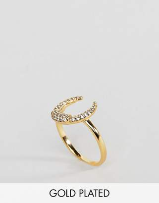 Orelia Gold Plated Crystal Crescent Ring