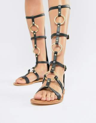 Asos DESIGN Full Force Leather Knee High Gladiator Flat Sandals