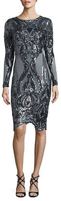 Betsy & Adam Sequined Sheath Dress