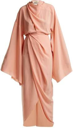 Awake High-neck draped woven dress