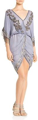 Haute Hippie Mojave Desert Bead-Embellished Crossover Silk Dress