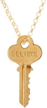 "The Giving Keys Goldtone 'BELIEVE' Key Pendant with 30"" Rolo Chain"