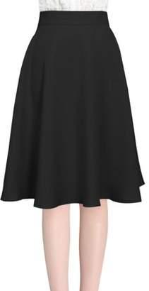 Unique Bargains Women's Knee Length Hidden Back Zipper Ruffled Design Full Skirt