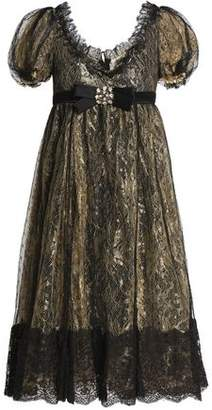Dolce & Gabbana Crystal And Bow-Embellished Lace Dress