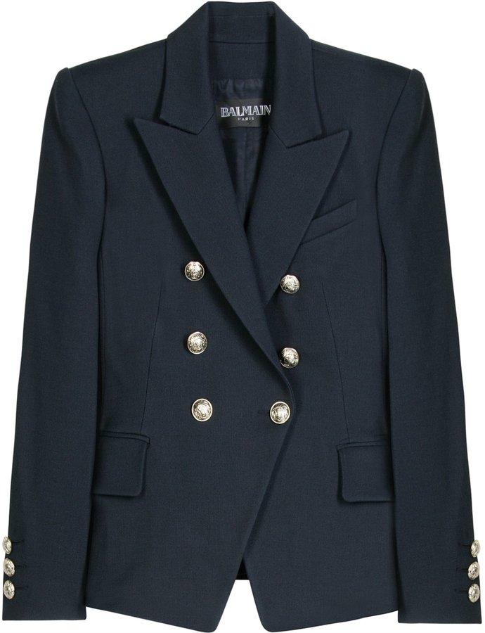 Balmain Wool Blend Navy Blazer