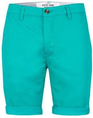 Bright Green Stretch Skinny Chino Shorts $40 thestylecure.com