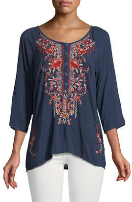 Johnny Was Olivia 3/4-Sleeve Embroidered Blouse, Plus Size