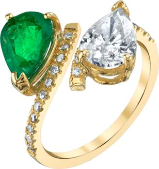 Shay Jewelry Twin Pear Emerald and Diamond Ring