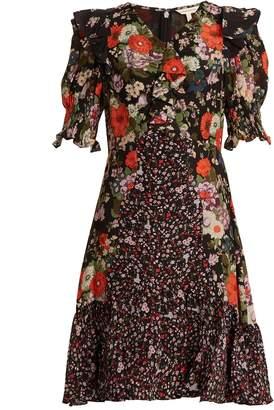 REBECCA TAYLOR Ruffle-trim contrast floral-print silk dress