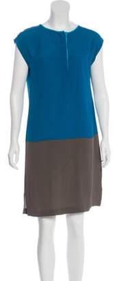 Akris Silk Colorblock Dress Turquoise Silk Colorblock Dress
