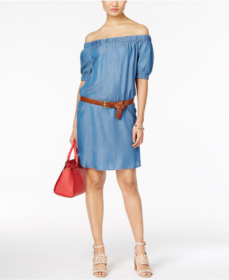 MICHAEL Michael Kors Off-The-Shoulder Denim Peasant Dress $140 thestylecure.com
