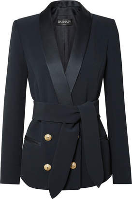 Balmain Belted Double-breasted Crepe Blazer - Midnight blue