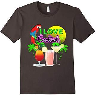 Fun Bright Colorful I Love Cocktails Graphic T-Shirt