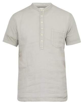 120% Lino Linen Henley T Shirt - Mens - Light Grey