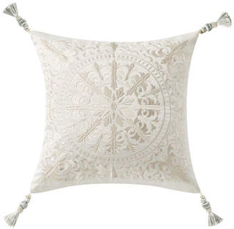 Waterford Daphne Embroidered Square Pillow w/ Tassel Trim