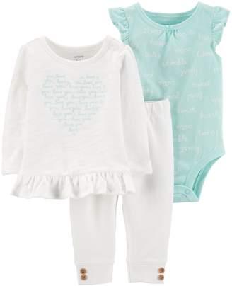 66716e3cba9 Carter's Baby Girl Words Bodysuit, Ruffled Slubbed Top & Button-Hem Pants  Set